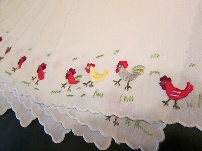 8 Vtg MADEIRA Linen Rooster Cocktail Table Napkins Hand Embroidered Scallop Lot