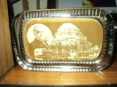 1901 Pan American Exposition Buffalo Mckinley Temple Music Glass Paperweight