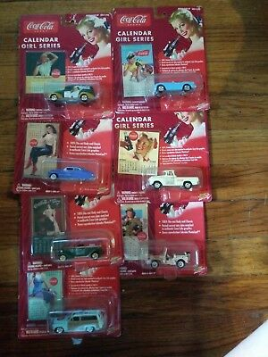 Johnny Lightning Coca Cola collectible car calender girl series. Set of 7 toys