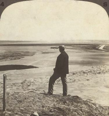 Egypt. Watching a Sand Whirlwind From Top of Hawars Pyramid. Vintage Stereoview