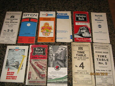 Vintage Railroad Time Tables and Pamphlets - 11 total