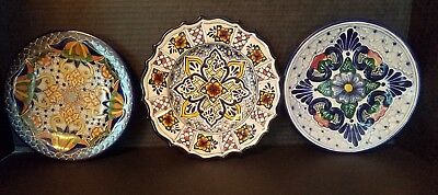 Pue Mexico Talavera Style Mexican Pottery Plates  Signed