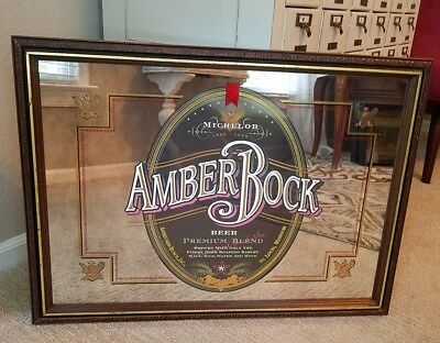 Michelob AMBER BOCK BEER 1995 - 29'' x 21'' - Wood Framed Mirror Sign - Bar Sign