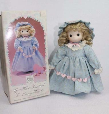 "NIB Precious Moments Limited edition Porcelain Bisque Doll ""Touched Many Hearts"""