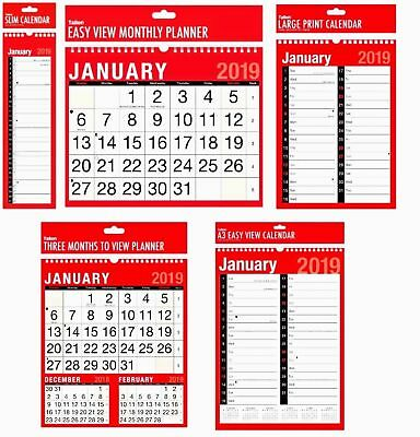 NEW 2019 Assorted Size Format Easy View Wall Calendar & Planner for Home Office