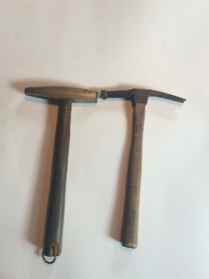 Two Vintage Small Hammers, Tack, Jeweler, Tinker? Wood Handles