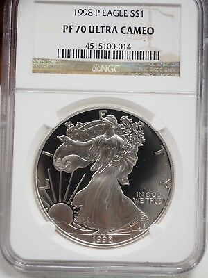 1998-P NGC PF70 Ultra Cameo Proof Silver Eagle # 0014