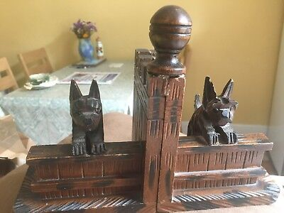 Wooden Black Forest Vintage Dog Bookends/ Ornament