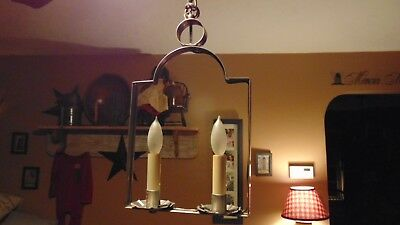 Primitive Colonial Tin 2 Candle Hanging Light