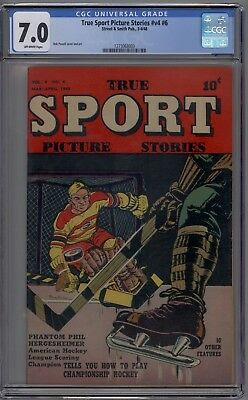 True Sport Picture Stories #v4 #6 CGC 7.0 FN/VF Bob Powell Cover & Art 1948 HTF