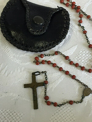 Vintage pos. Antique Rosary in leather pouch.