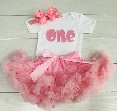 Luxury Girls 1st First Birthday Outfit Tutu Skirt Cake Smash Set Pink