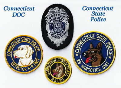 Lot of (4) CONNECTICUT STATE POLICE / DEPT. OF CORRECTION PATCHES (Rare Lot)
