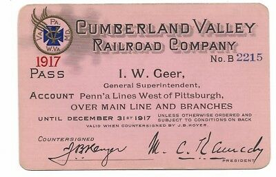 1917 Cumberland Valley Railroad annual pass