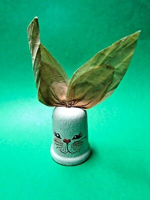 Attached Paper Ears Bunny Rabbit Wood Thimble  (T-2)