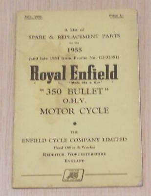 ROYAL ENFIELD 350 Bullet Motorcycle Owners Parts List Jul 1955 #440/1M-259