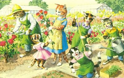 Vintage Comic ALMA Postcard 4927 Cats Gardening Alfred Mainzer Mint USA