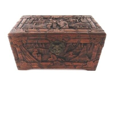 Antique Sailing Lock Box Hong Kong Wood Hand Carved Yu Ting Good Luck Chest