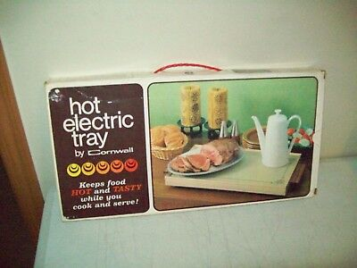 vintage electric warming tray American made Cornwall glass warmer Avocado