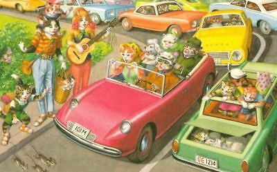 Vintage Comic Postcard 4991 Cat Traffic Jam With Mice Dog Mainzer Mint