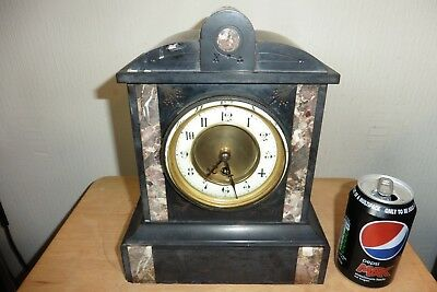 Antique Victorian Slate And Marble 8 Day Mantle Clock ( Working Needs Pendulum )