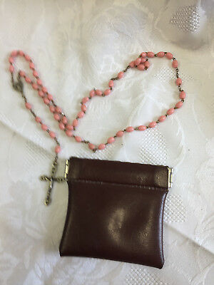 Vintage pos. Antique Rosary in leather pouch. Pink Beads