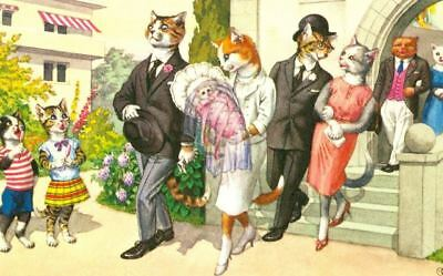 Vintage Comic Postcard 4939 Cats at Baptism Mainzer Mint Printed in USA