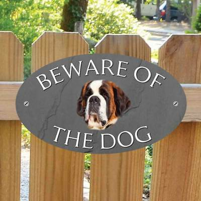 Beware of the St Bernard Gate Sign, Robust Outdoor Beware of the Dog Gate Plaque