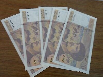 1997 -  20 Vingt Francs  5 Consecutive Notes 644355 To 644359
