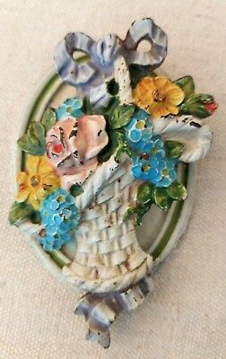 "Vintage Antique Cast Iron ""French Flower Basket"" Door Knocker Original Paint"