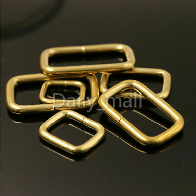 Brass metal wire formed rectangle ring loops for webbing bag strap leather craft