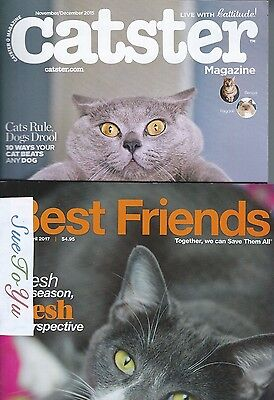 2 Magazines About Cats! Best Friends March/April 2017 & Catster 2015 Cats Kitten
