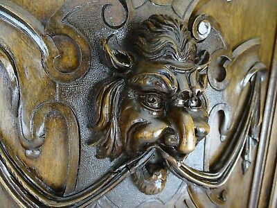 Antique French Panel/Door in Solid Walnut Wood with Devil Face Highly Carved