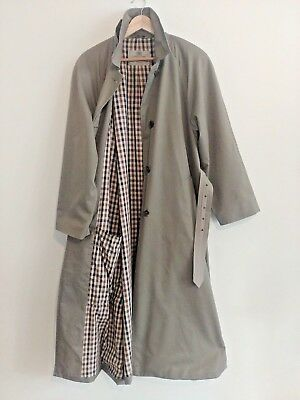 AQUASCUTUM vintage Ladies Taupe Cotton LONG belted Trench Mac COAT UK 14
