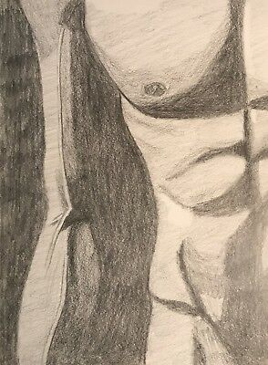 Original Male Muscle Pencil Drawing (8.5x11)