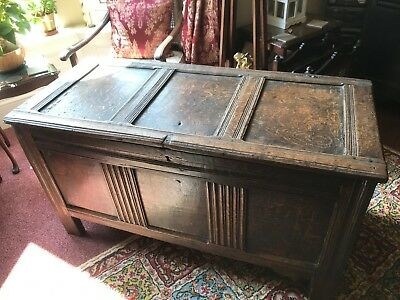 Antique English Oak Charles II Circa 1680 Coffer In Original Un-Carved Condition