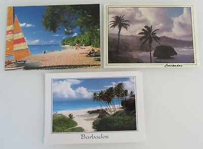 3 x BARBADOS Karibik Postkarten frankiert mit Briefmarken, Postcards with stamps