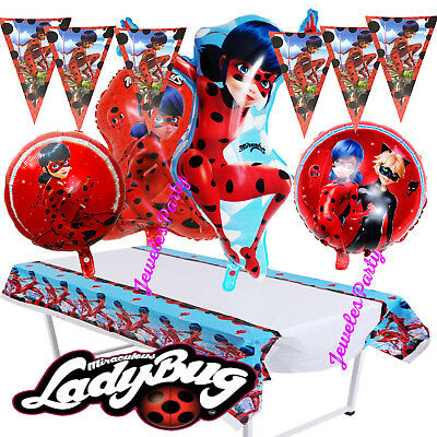 MIRACULOUS LADYBUG LADY BUG Birthday Party Balloon Balloons BANNER TABLE COVER