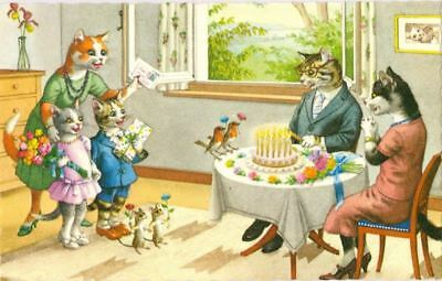 Vintage ALMA Comic Postcard 4940 Cat Birthday Party with Mice Mainzer Mint USA