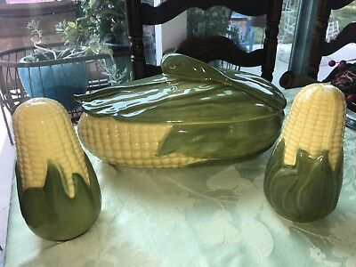 Shawnee Pottery Large Corn King Casserole Covered Serving Dish & Salt Shakers
