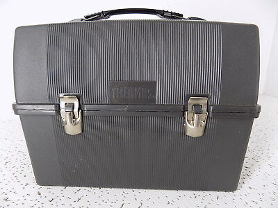 Vintage Thermos Gray large Plastic Lunch Box Pale, made in USA