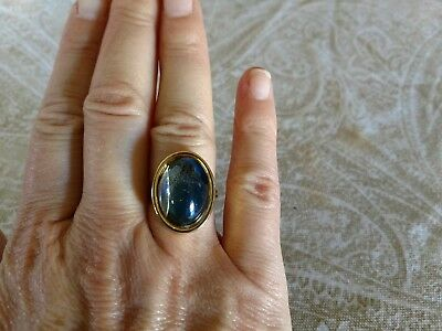 Vintage Ring gold tone metal color changing mood ring plastic top sz 7.5 adj