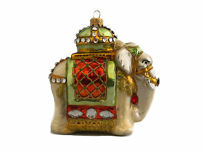 Indian Elephant Hanging Glass Christmas Ornament Mouth Blown