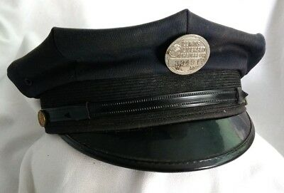 """1950 Illinois Chauffeur Badge Lecensed 33491 And Hat.   7 1/2"""""""