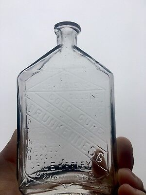 DR.KEELEY'S DOUBLE CHLORIDE OF GOLD CURE FOR DRUNKENNESS DWIGHT,IL 1880s BOTTLE