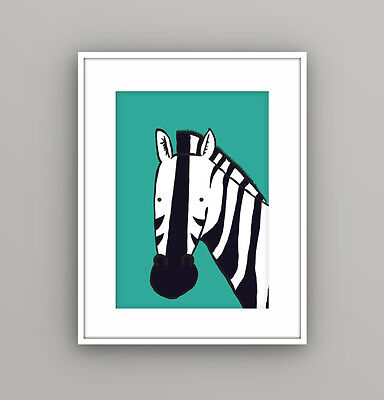 Nursery Kids Childrens Bedroom Safari Animal Zebra Wall Art Picture A4 Print
