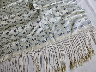 Vintage antq Chinese Oriental woven jacquard silk shawl - section of