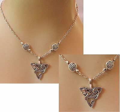 Cat Necklace Celtic Silver Pendant Jewelry Handmade NEW Chain Adjustable Women