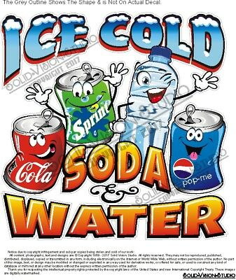 Ice Cold Soda & Water Beverage Pop Concession Trailer Food Truck Sign Menu Decal