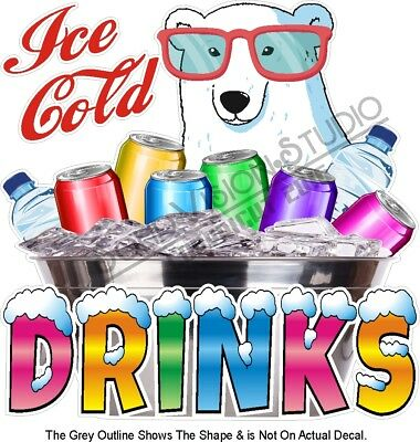 Ice Cold Drinks Water Soda Polar Bear Concession Trailer Food Truck Sign Decal